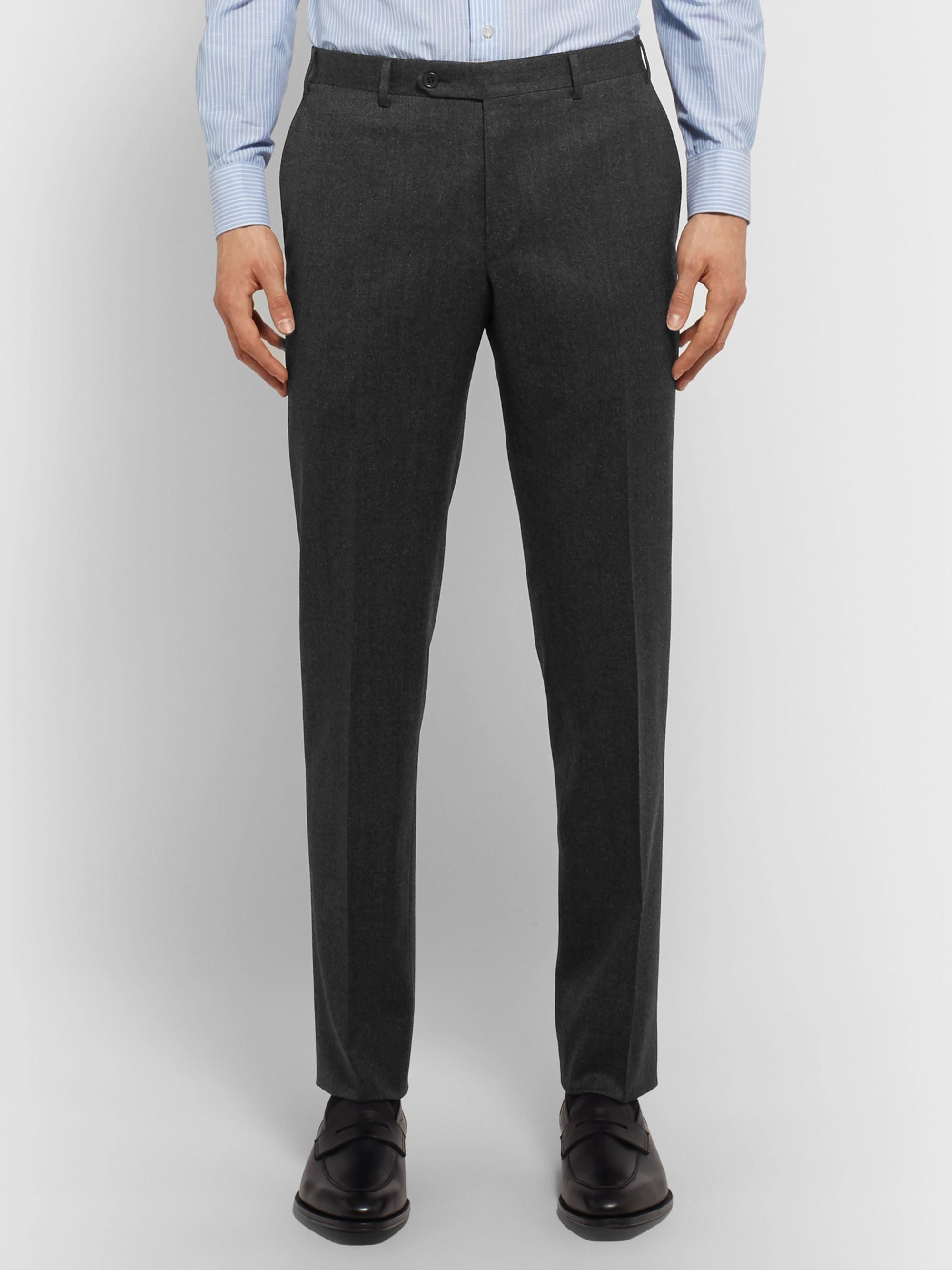 Canali Navy Super 120s Micro-Checked Wool Suit Trousers