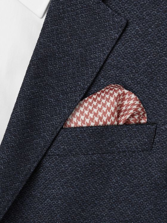 Turnbull & Asser Puppytooth-Print Silk-Twill Pocket Square