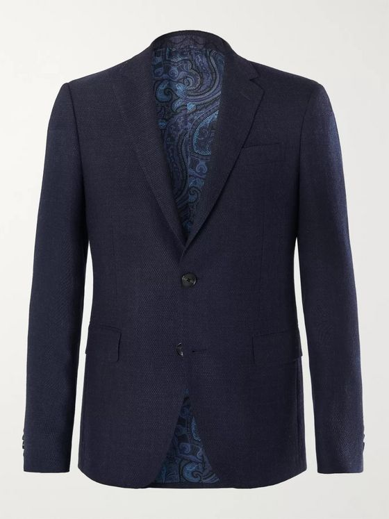 Etro Navy Slim-Fit Wool-Hopsack Blazer