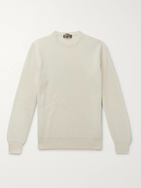 LORO PIANA Girocollo Riverside Garment-Dyed Ribbed Cashmere Sweater