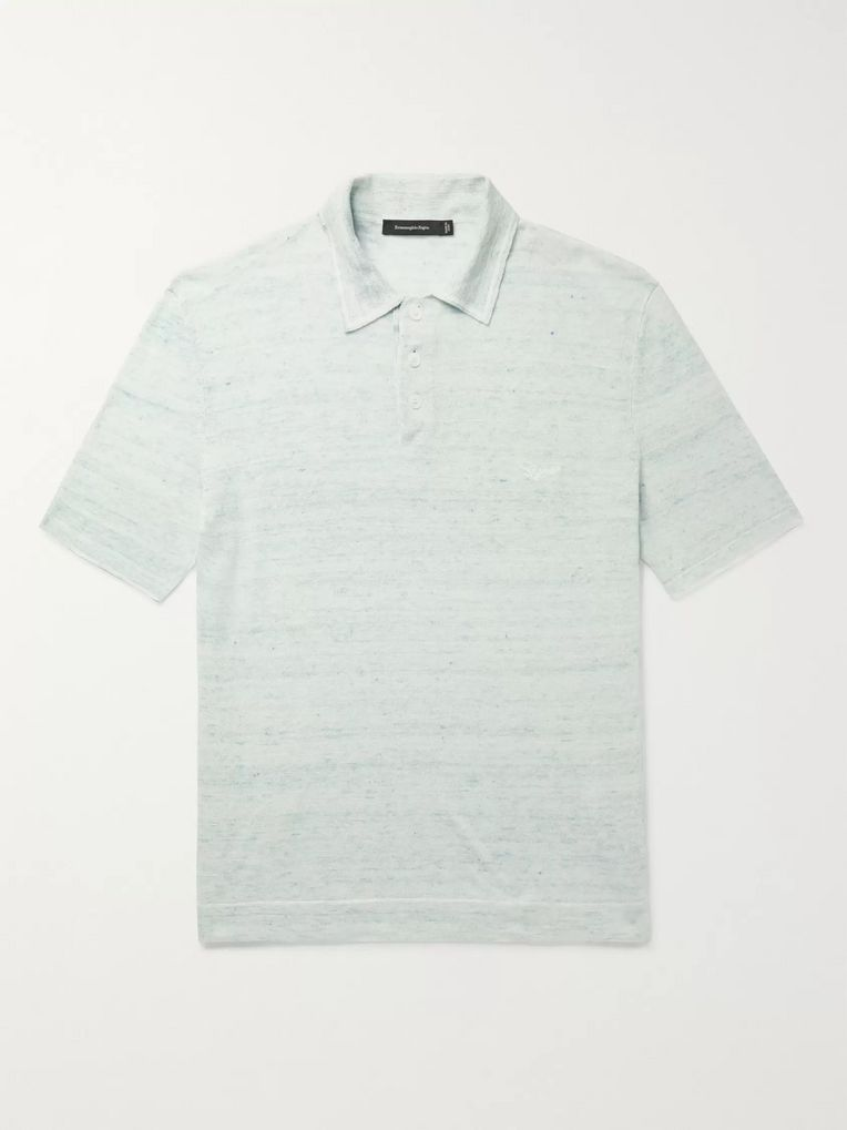 Ermenegildo Zegna Logo-Embroidered Mélange Cotton and Linen-Blend Polo Shirt