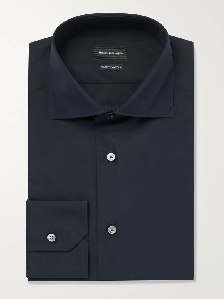 Ermenegildo Zegna Navy Trofeo Slim-Fit Cutaway-Collar Cotton-Poplin Shirt