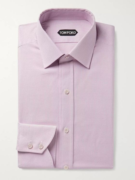 TOM FORD Pink Slim-Fit Micro-Gingham Cotton Shirt
