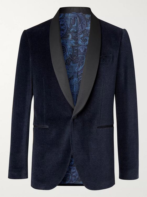 Etro Navy Slim-Fit Satin-Trimmed Herringbone Cotton-Blend Velvet Tuxedo Jacket