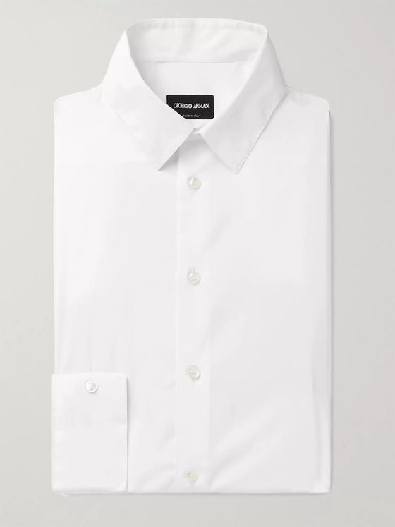 Giorgio Armani White Cotton-Blend Poplin Shirt