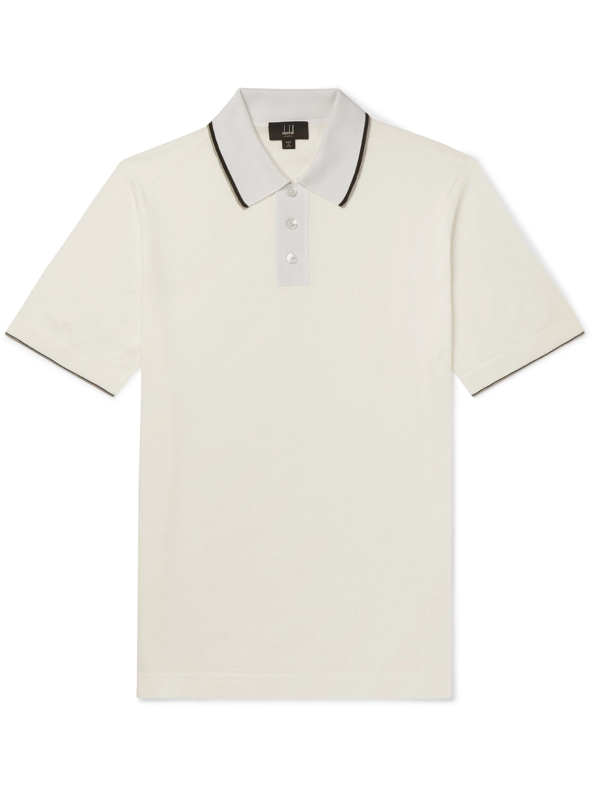 Dunhill Slim-Fit Silk-Trimmed Knitted Cotton Polo Shirt
