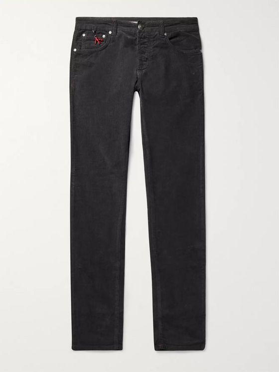 Isaia Navy Slim-Fit Cotton-Blend Corduroy Trousers