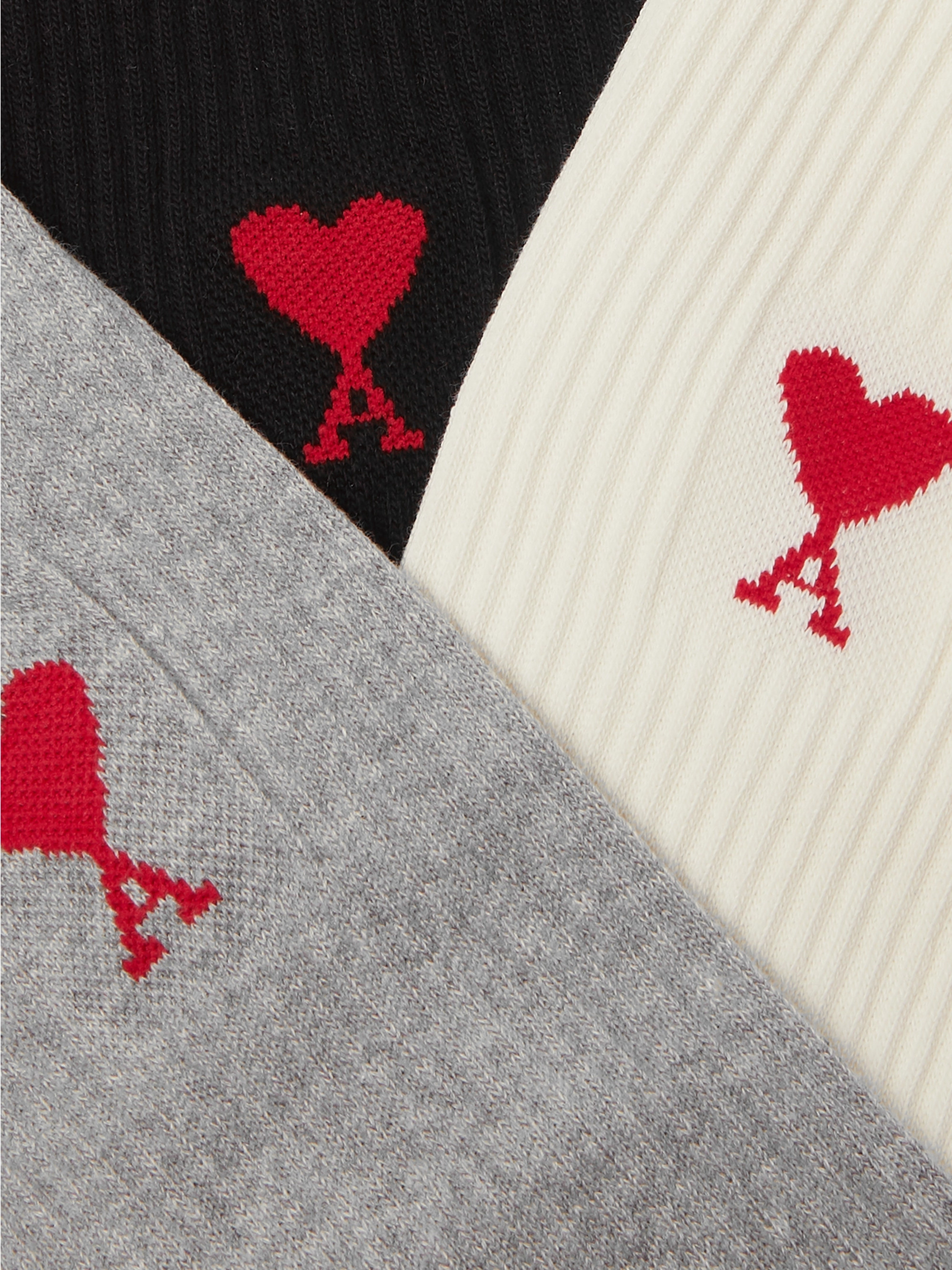 AMI Three-Pack Logo-Embroidered Stretch Cotton-Blend Socks