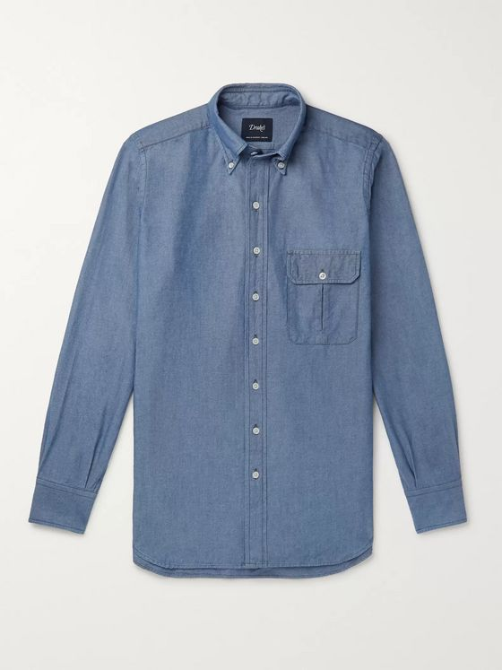 Drake's Button-Down Collar Cotton Oxford Shirt