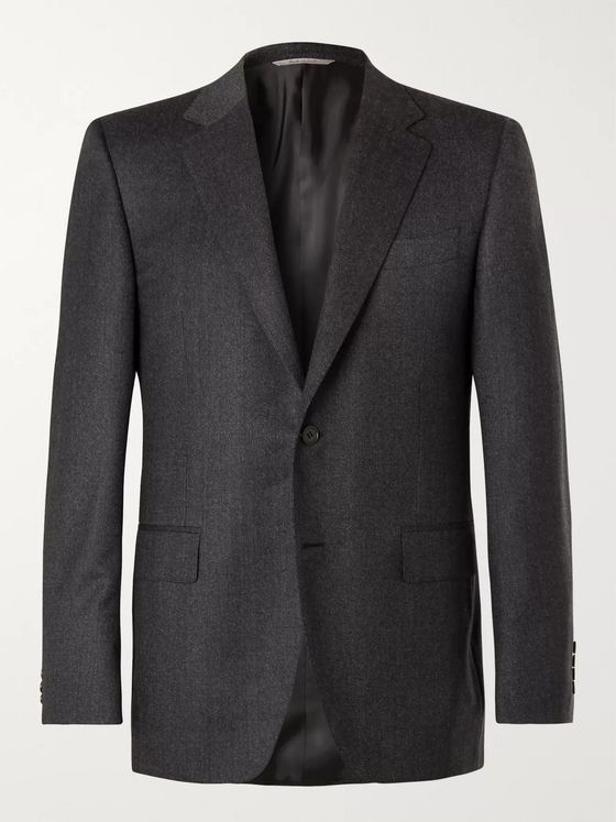Canali Charcoal Super 120s Virgin Wool Suit Jacket