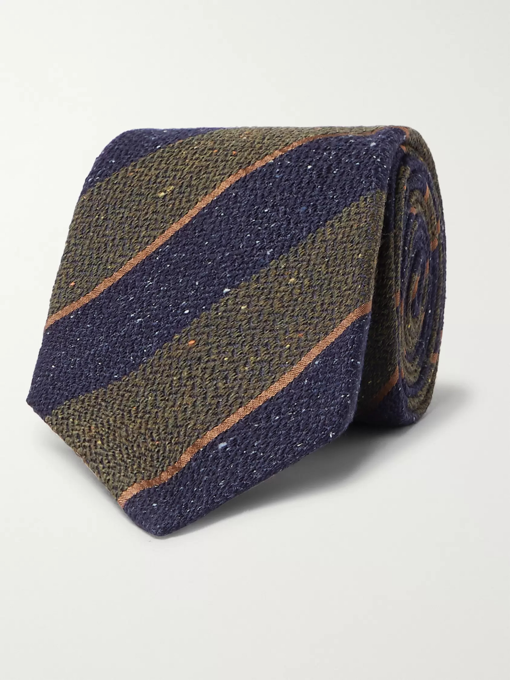 Canali 8cm Striped Silk and Wool-Blend Tie