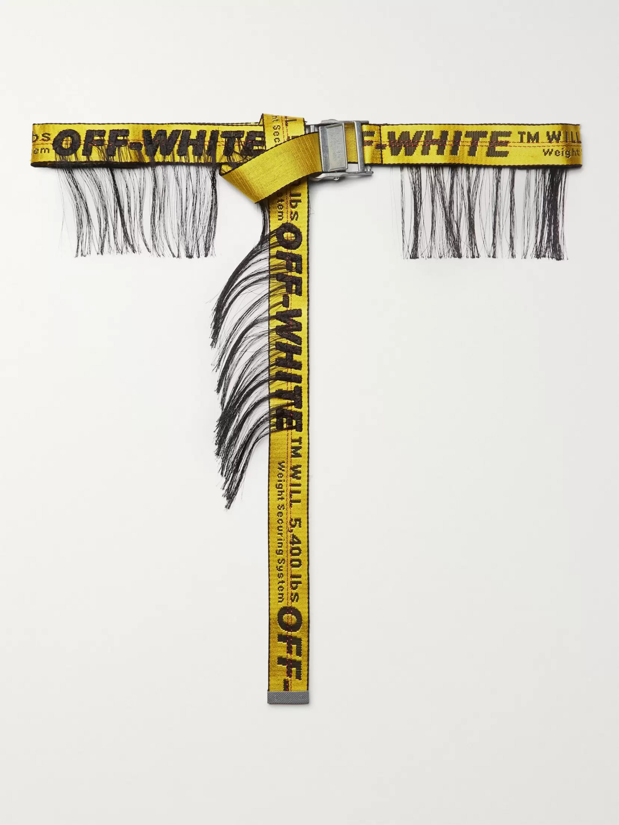 Off-White 3.5cm Yellow Industrial Fringed Logo-Jacquard Webbing Belt