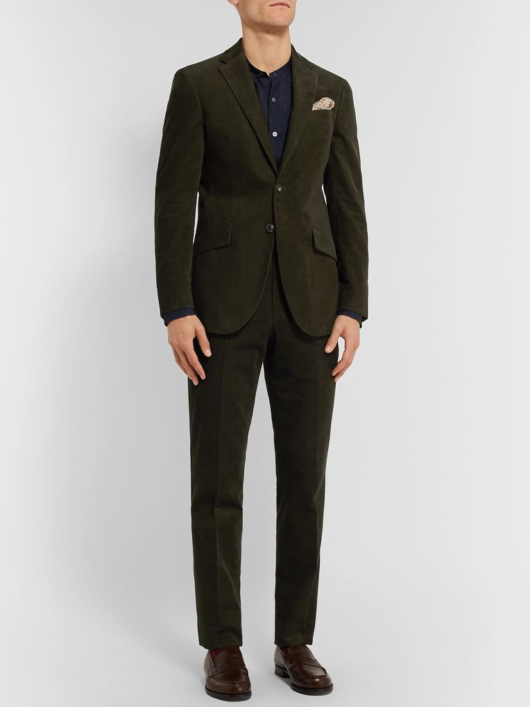Richard James Dark-Green Slim-Fit Cotton-Corduroy Suit Jacket