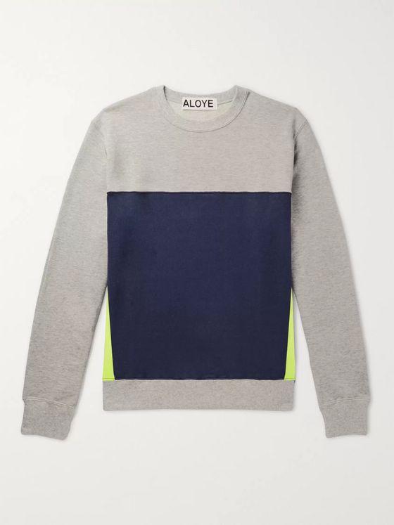 Aloye Colour-Block Loopback Cotton-Jersey Sweatshirt