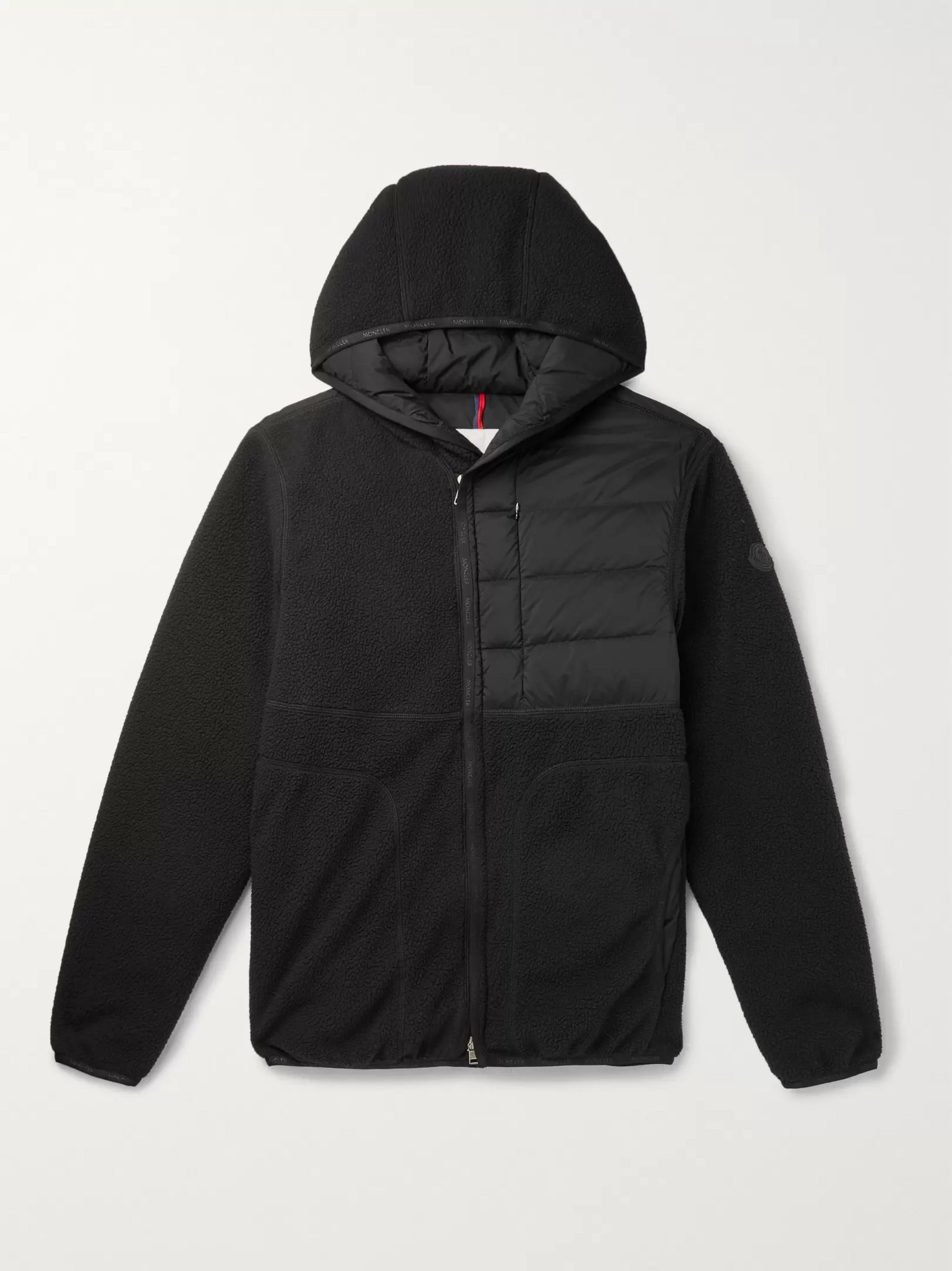 Feyder Panelled Fleece And Quilted Shell Hooded Down Jacket by Moncler