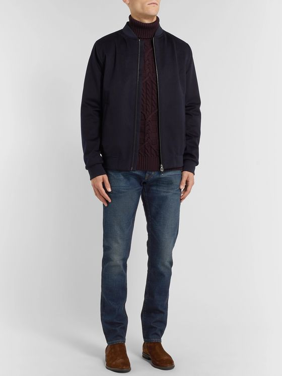 Etro Slim-Fit Cable-Knit Wool Rollneck Sweater