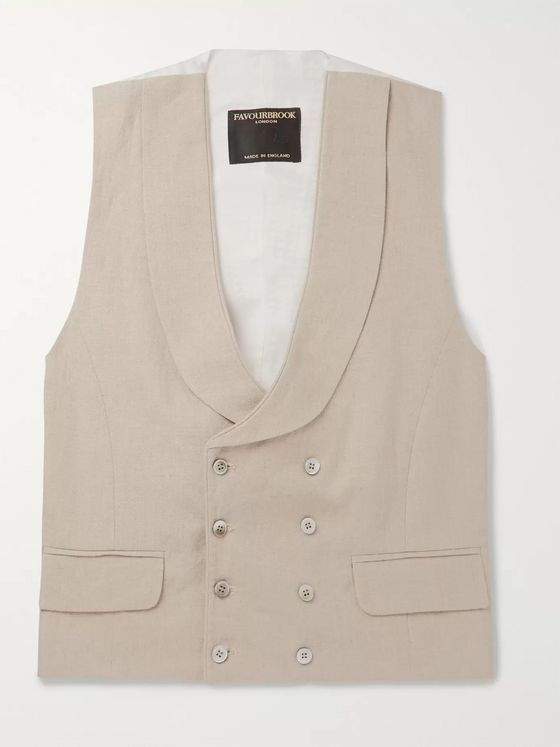 Favourbrook Brick Double-Breasted Linen Waistcoat