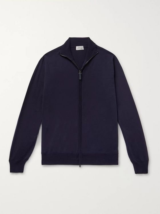 Brioni Wool Zip-Up Cardigan