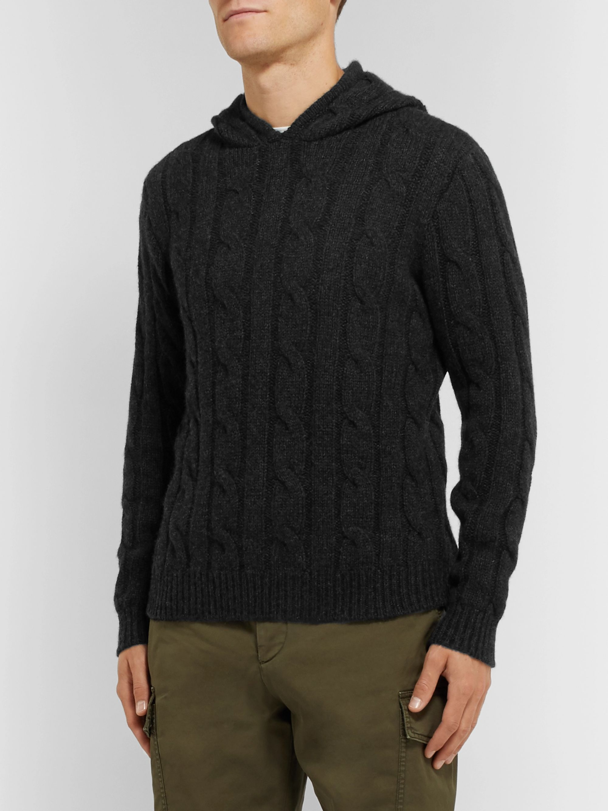 Ralph Lauren Purple Label Slim-Fit Cable-Knit Cashmere Hoodie