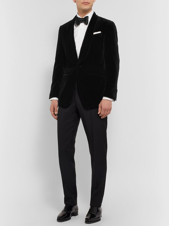 Thom Sweeney Black Slim-Fit Cotton-Velvet Tuxedo Jacket