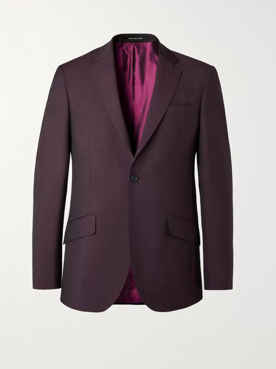 RICHARD JAMES Burgundy Slim-Fit Wool and Mohair-Blend Suit Jacket