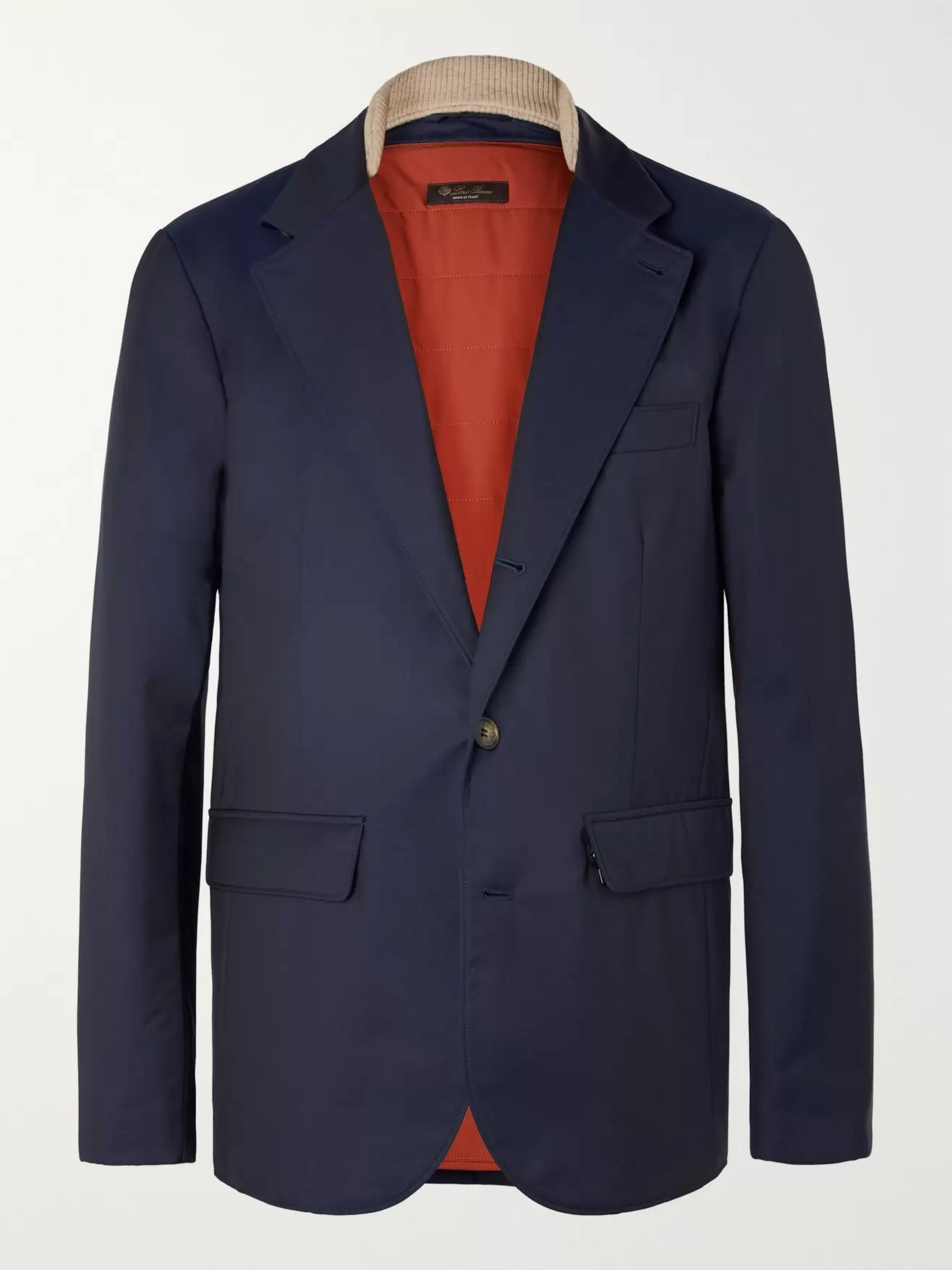 Loro Piana Navy Storm System Tech-Nylon Blazer with Detachable Padded Liner