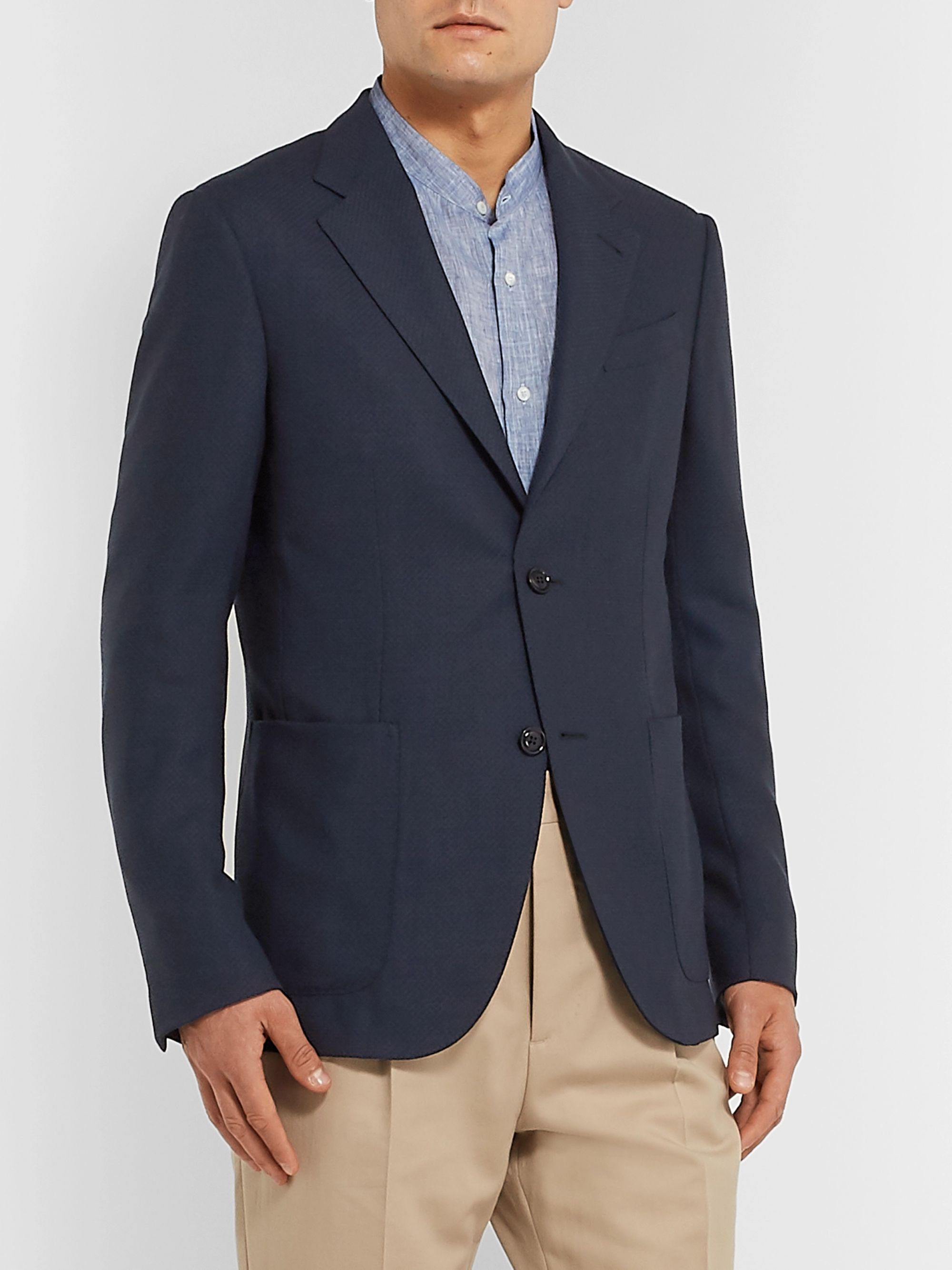 Ermenegildo Zegna Navy Slim-Fit Unstructured Wool Blazer