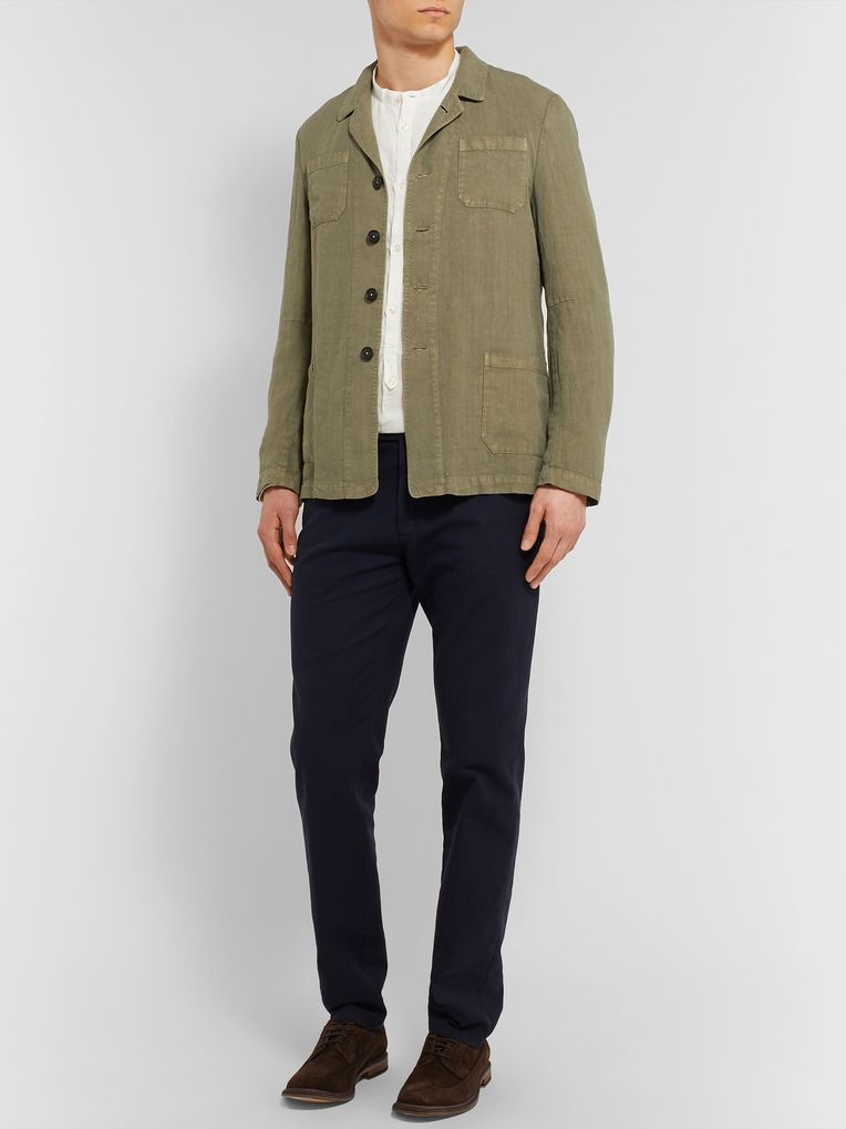 Massimo Alba Grandad-Collar Linen Half-Placket Shirt