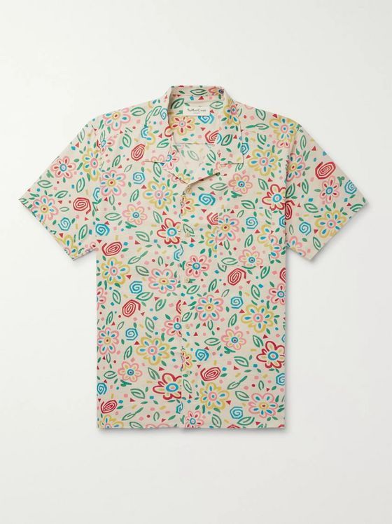YMC Camp-Collar Floral-Print Cotton-Mesh Shirt