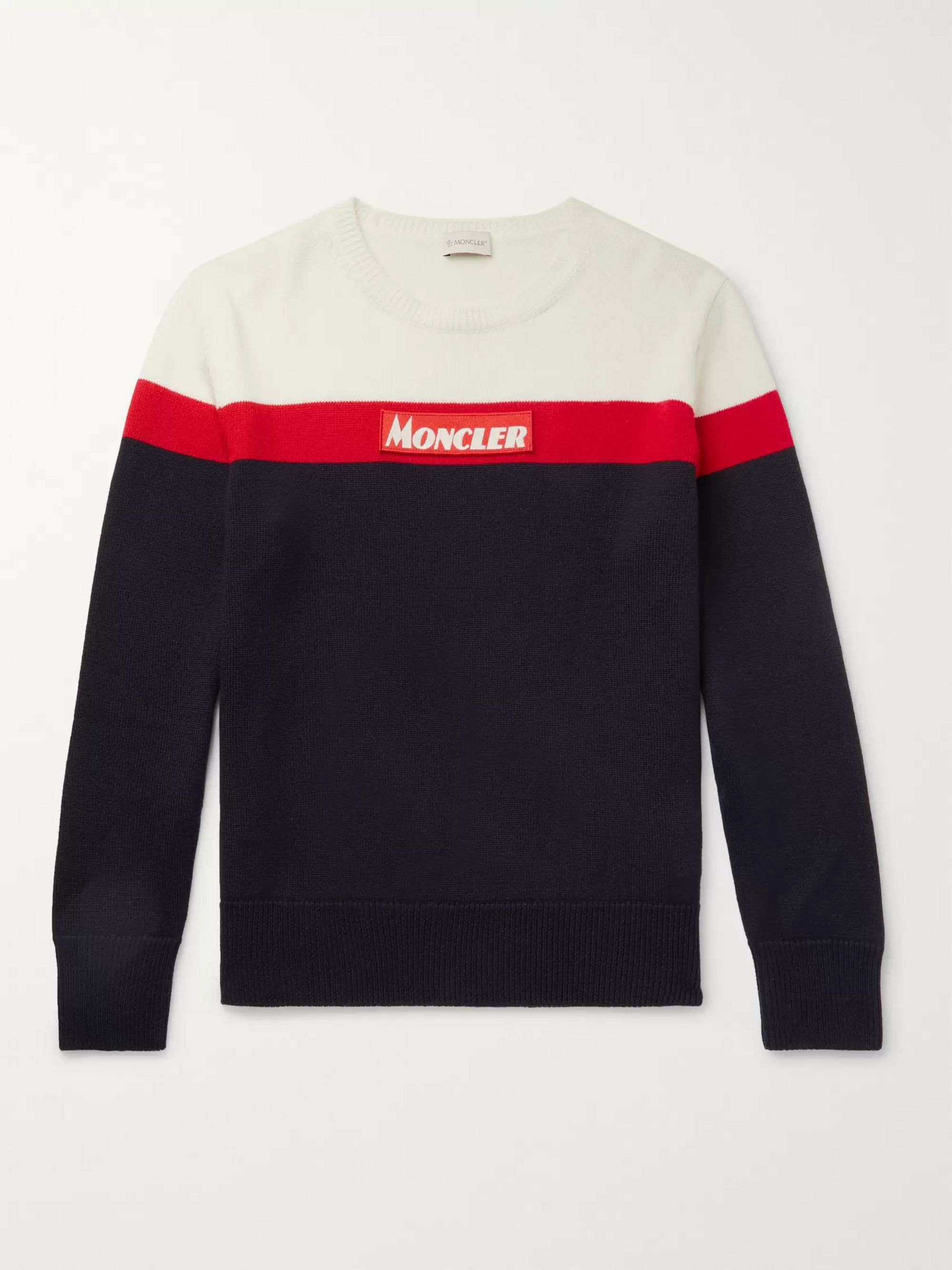 Colour Block Virgin Wool Sweater by Moncler