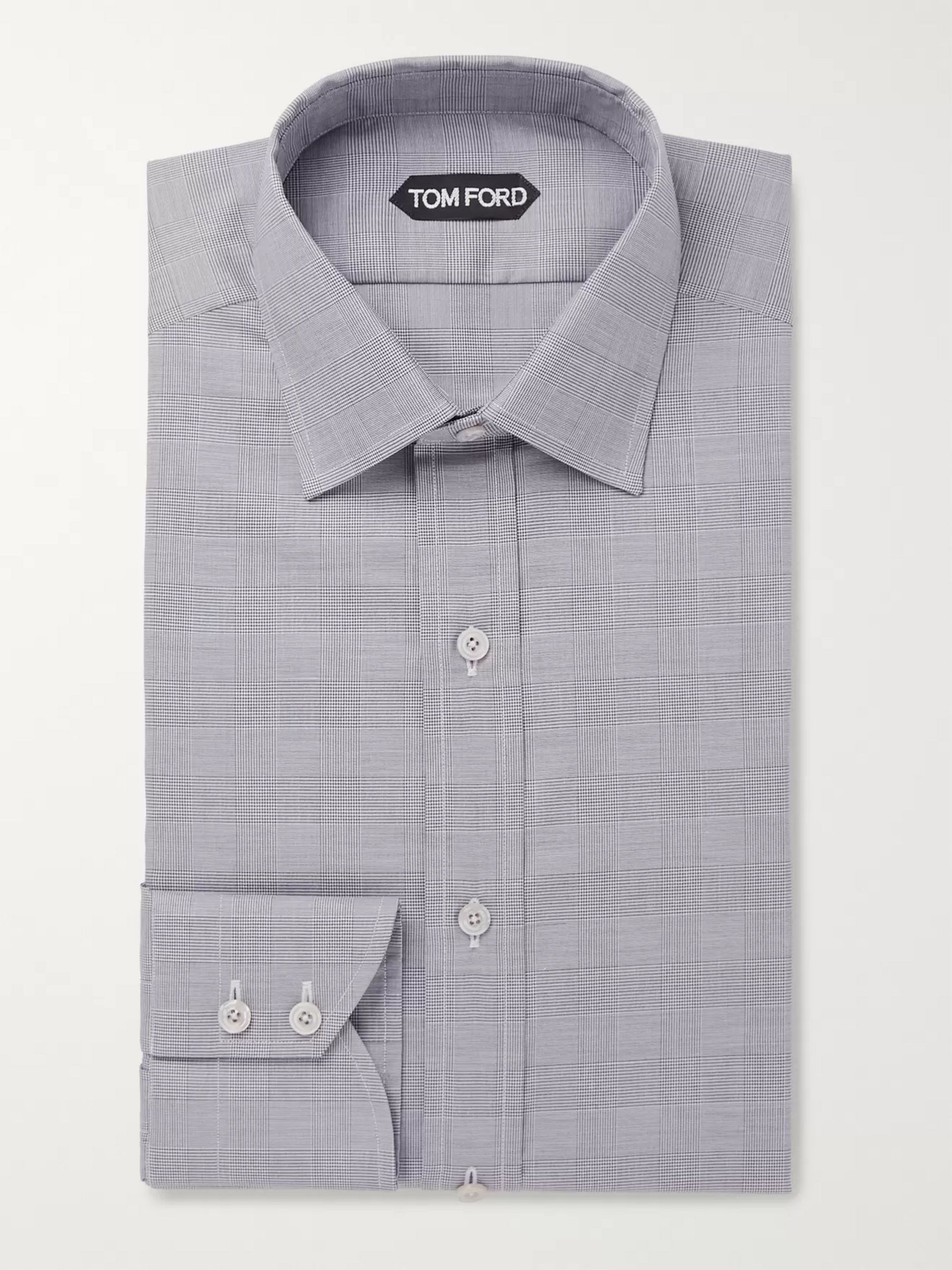 TOM FORD Grey Slim-Fit Prince Of Wales Checked Cotton Shirt