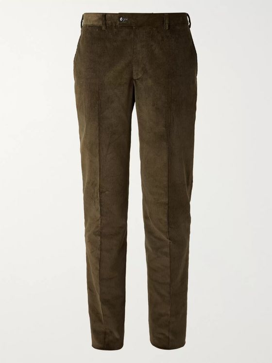 MP Massimo Piombo Olive-Green Slim-Fit Cotton-Corduroy Suit Trousers