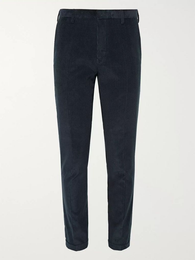 Paul Smith Navy Slim-Fit Cotton and Cashmere-Blend Corduroy Suit Trousers