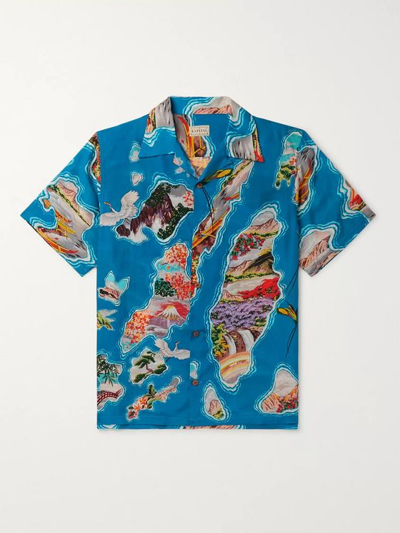KAPITAL Camp-Collar Printed Voile Shirt