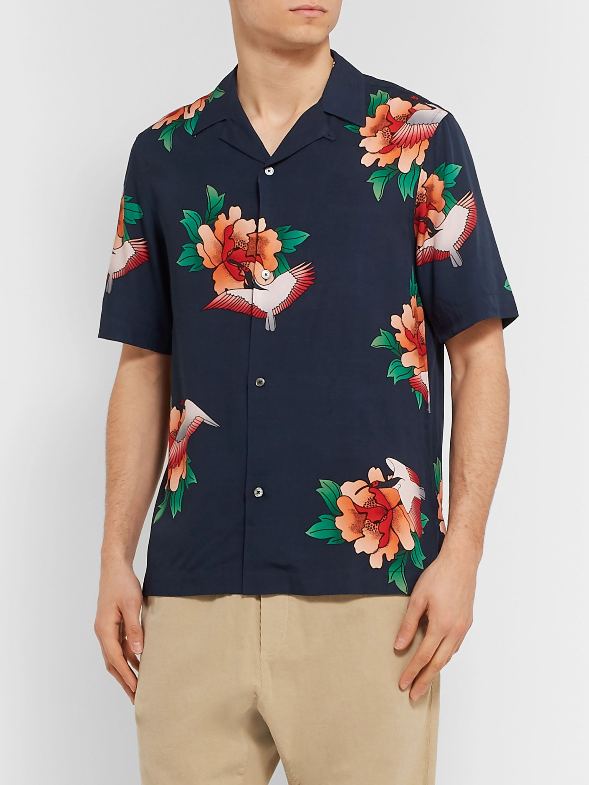 Paul Smith Camp-Collar Floral-Print Tencel and Linen-Blend Shirt
