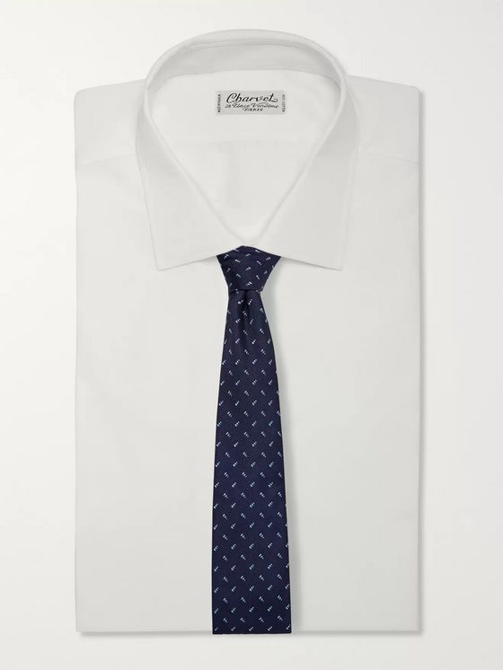 Turnbull & Asser 8cm Embroidered Silk-Twill Tie