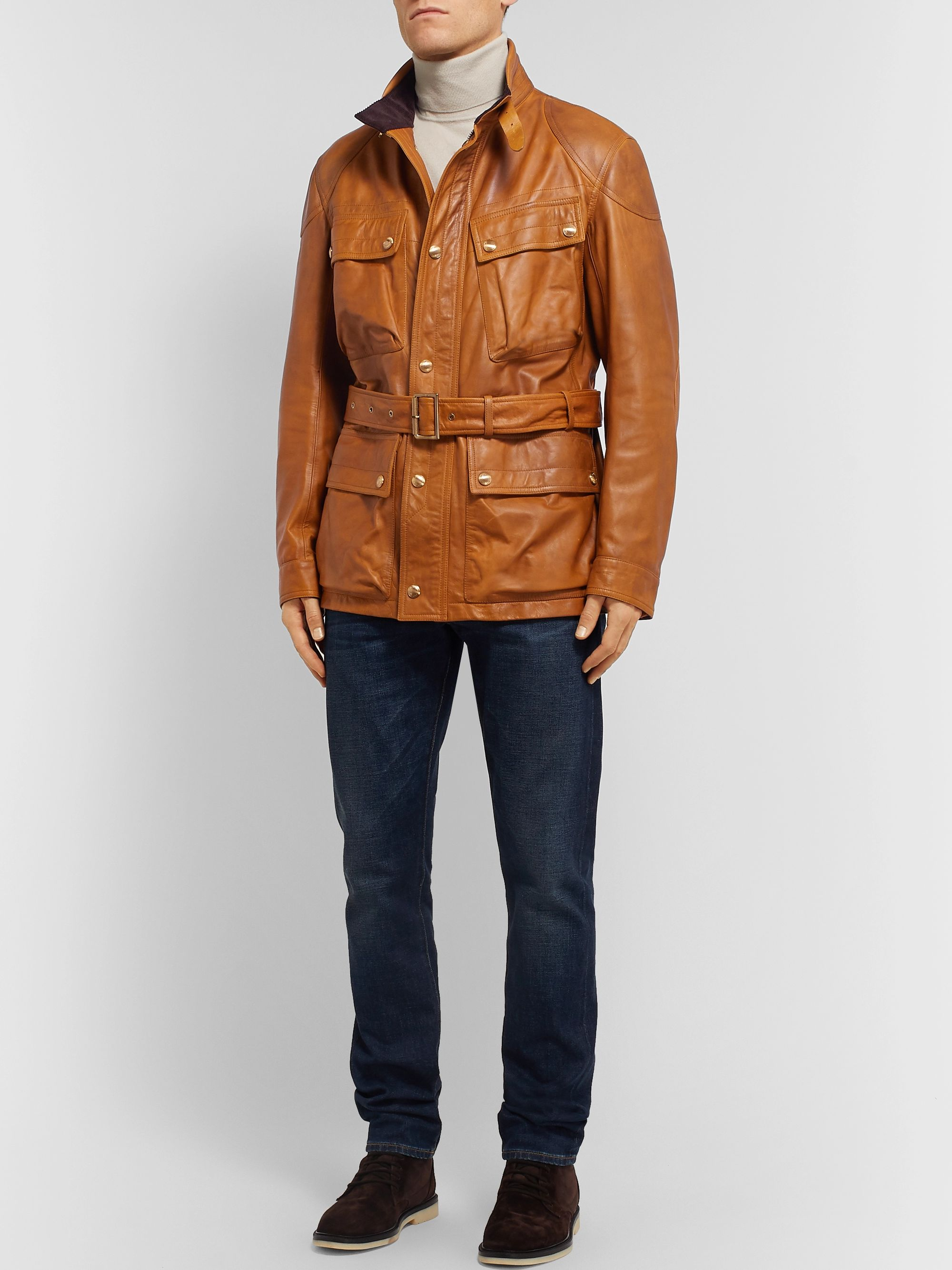 Ralph Lauren Purple Label Callum Burnished-Leather Field Jacket