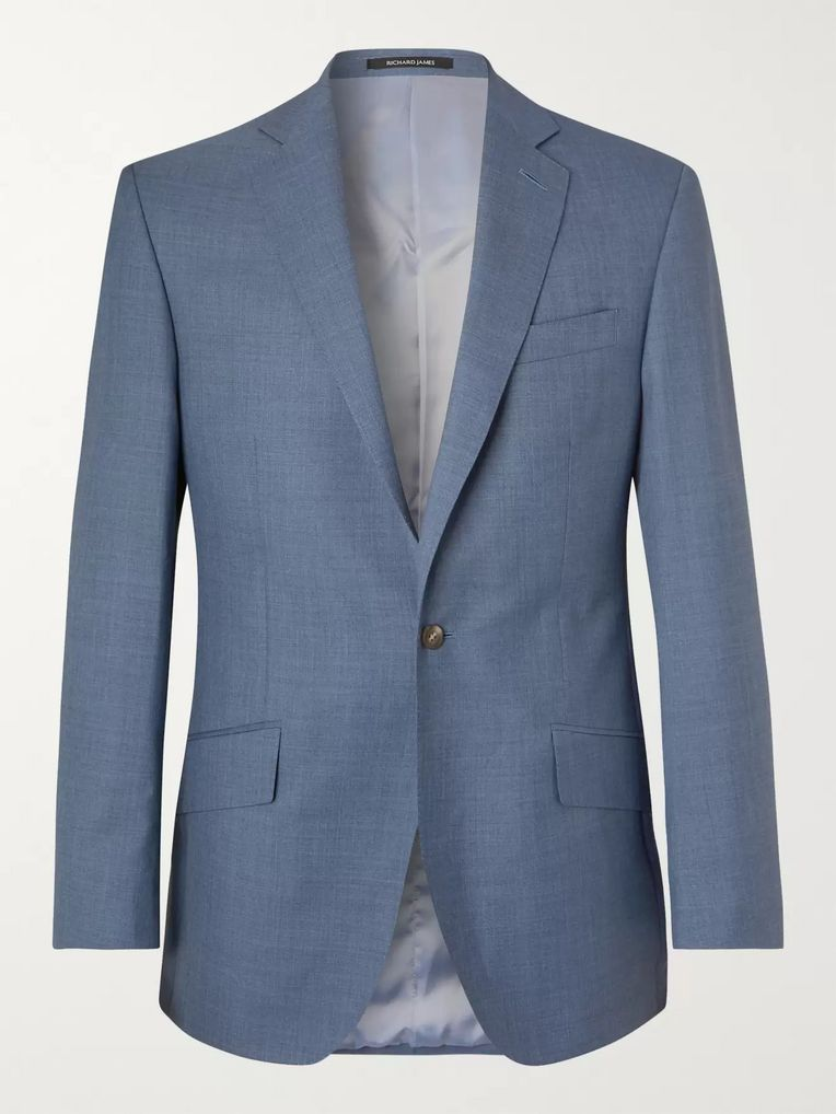 Richard James Blue Slim-Fit Wool Suit Jacket