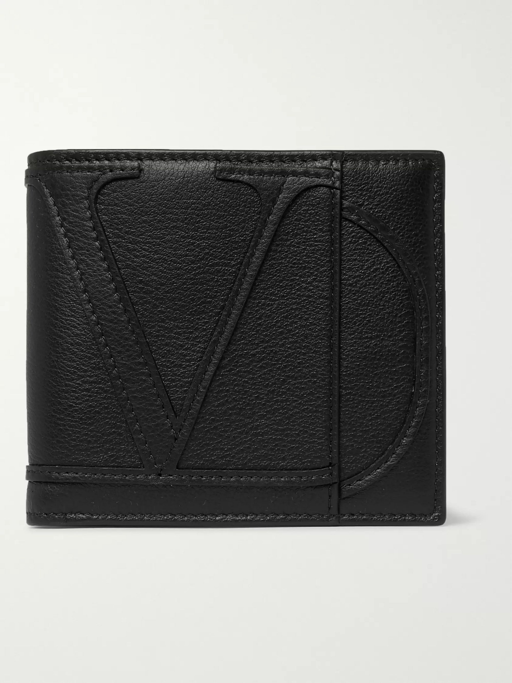 Valentino Logo-Appliquéd Full-Grain Leather Billfold Wallet