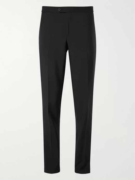 Thom Sweeney Midnight-Blue Satin-Trimmed Wool Tuxedo Trousers