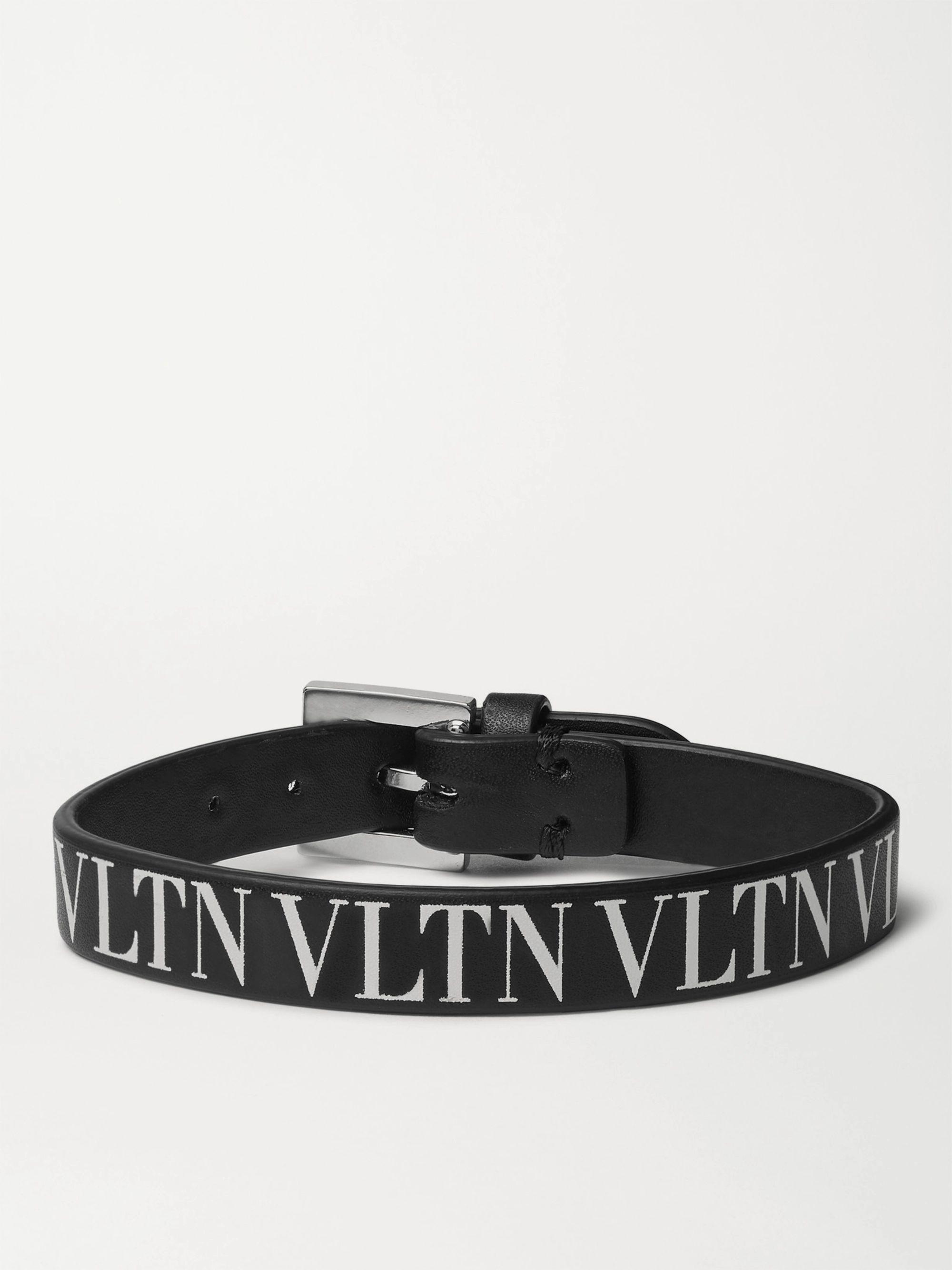 Valentino Garavani Logo-Print Leather Bracelet