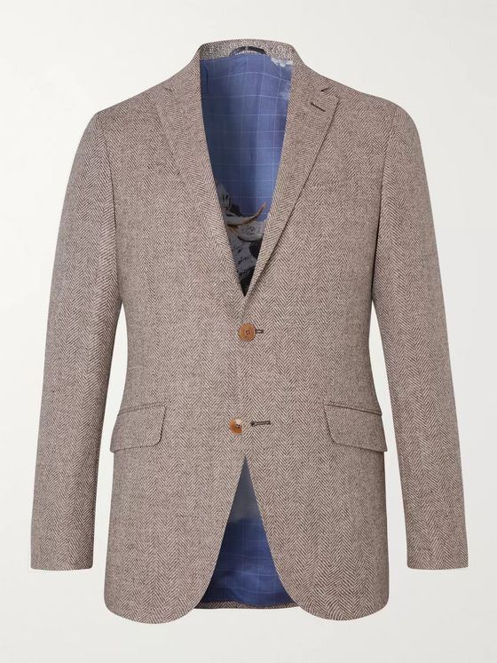 Etro Beige Slim-Fit Herringbone Wool Blazer