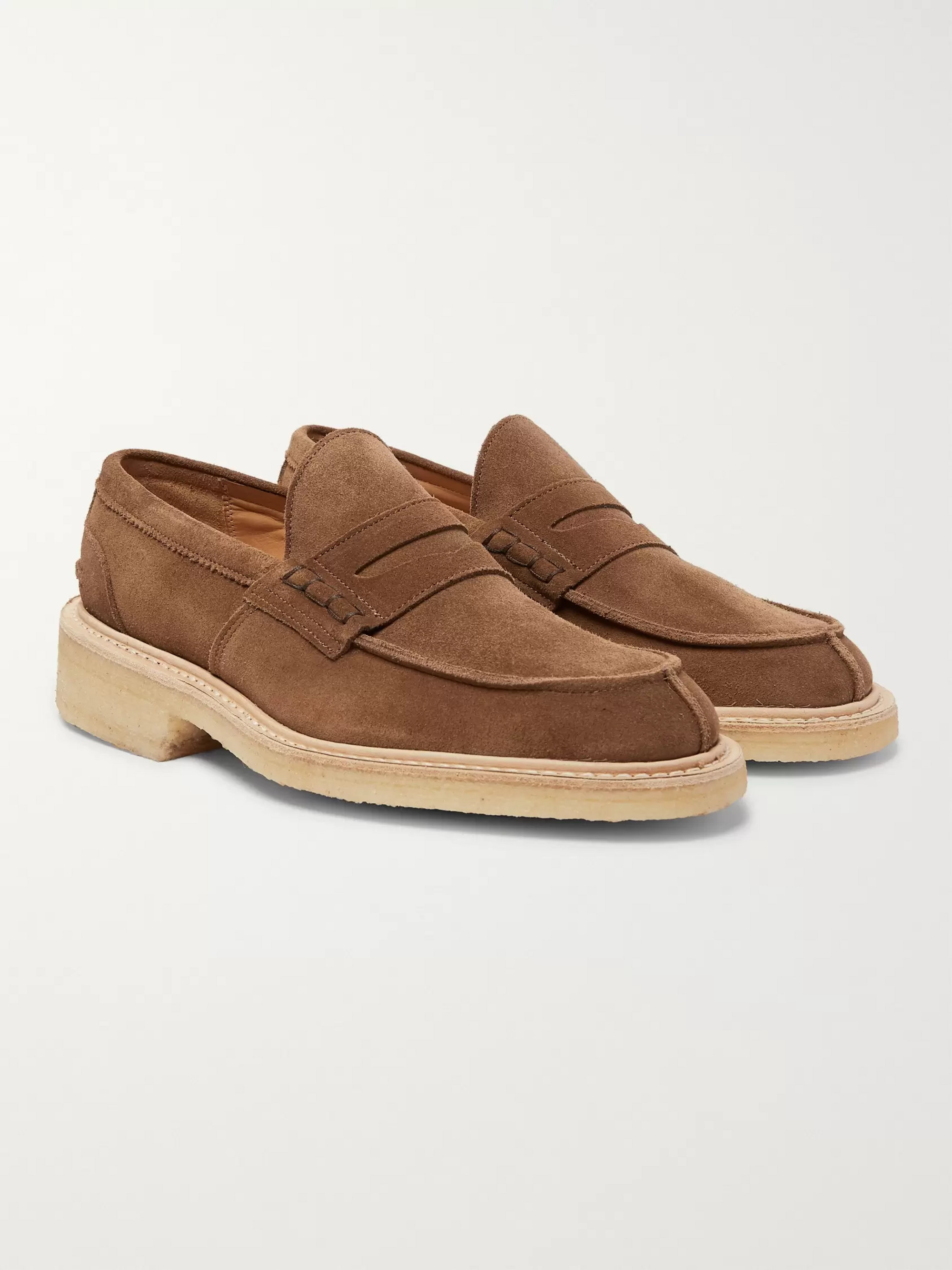 fb6a159694036 Brown James Suede Penny Loafers | Tricker's | MR PORTER