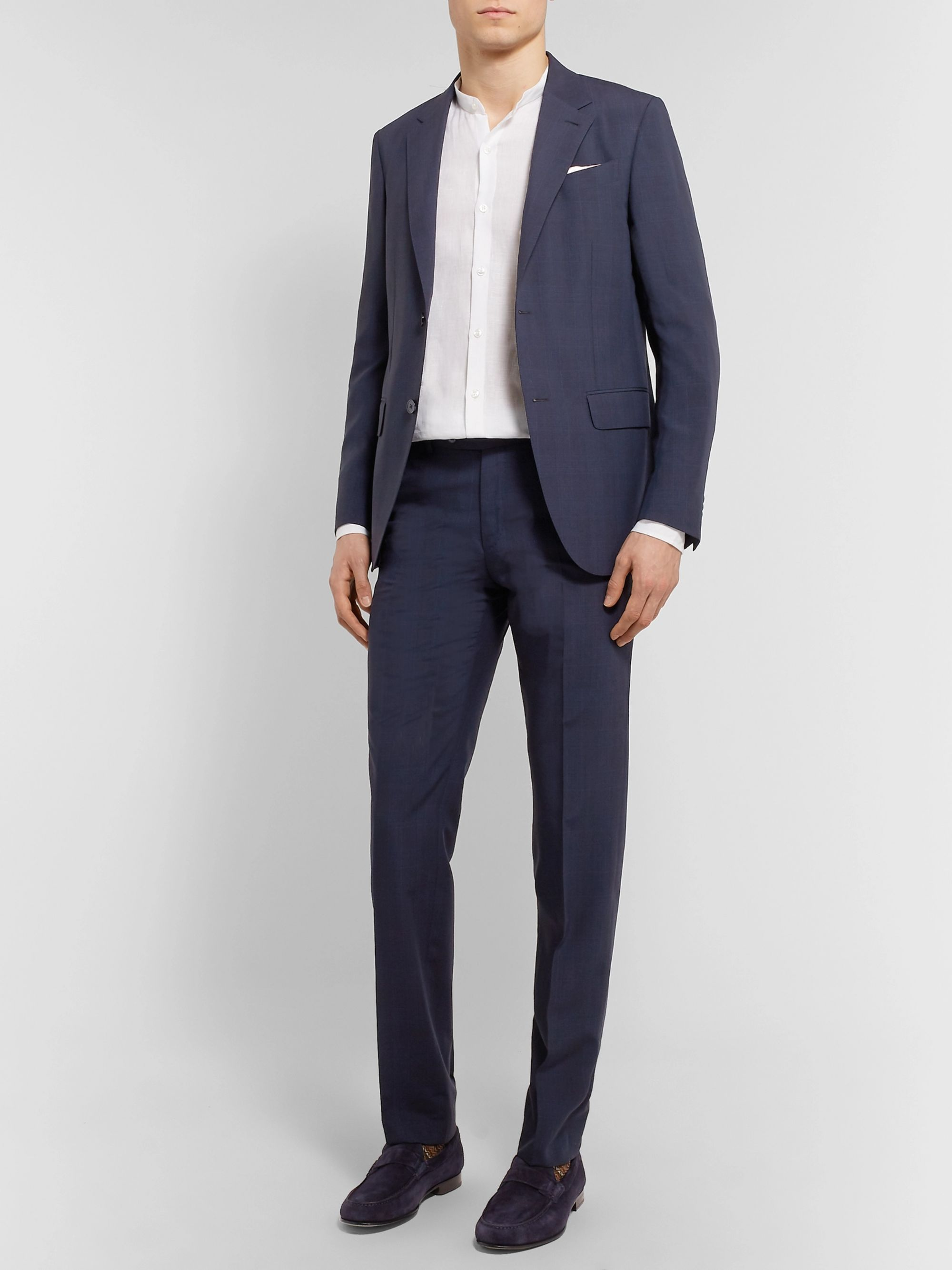Ermenegildo Zegna Navy Slim-Fit Checked Wool and Silk-Blend Suit