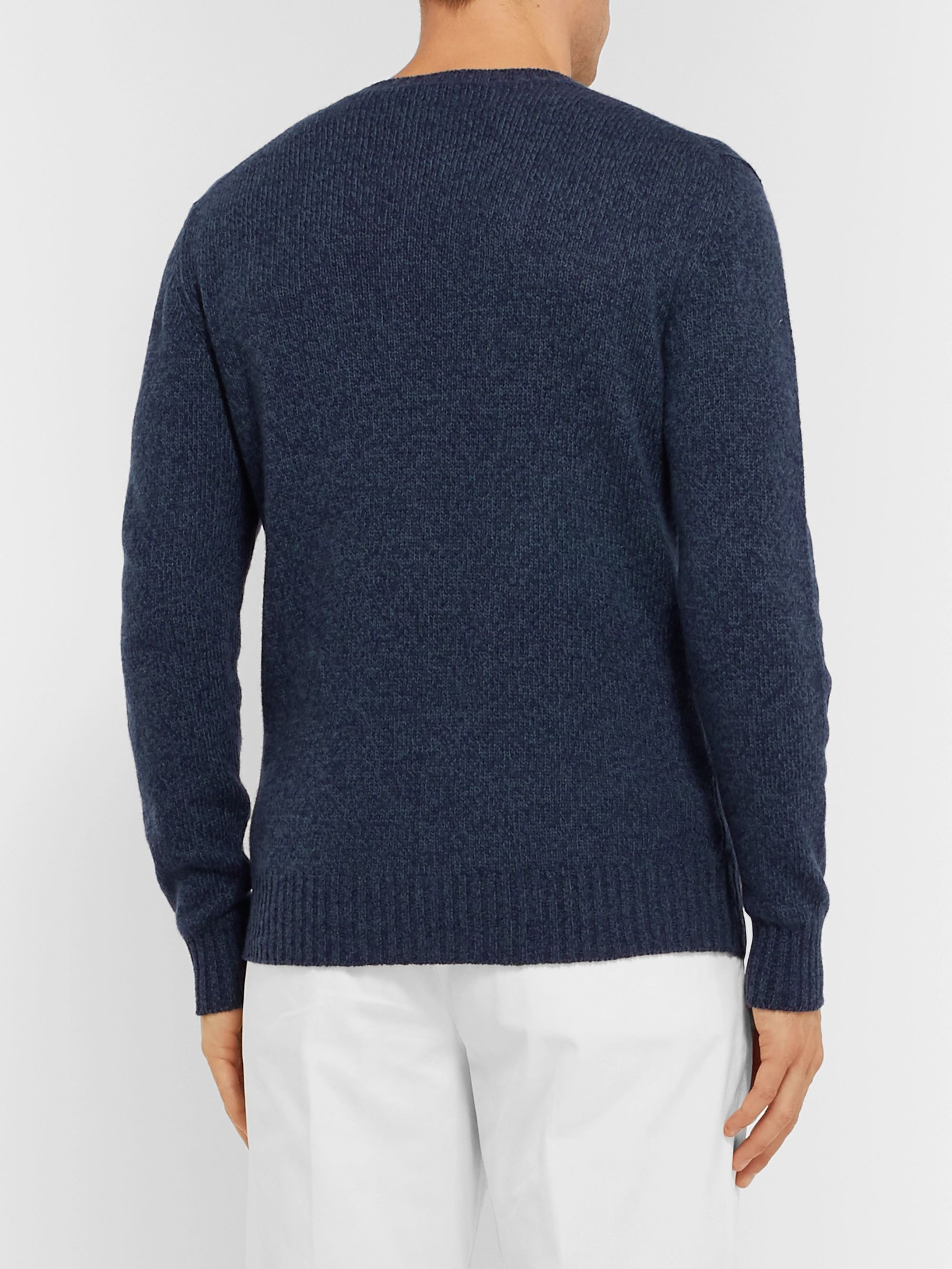 Loro Piana Slim-Fit Mélange Baby Cashmere Sweater
