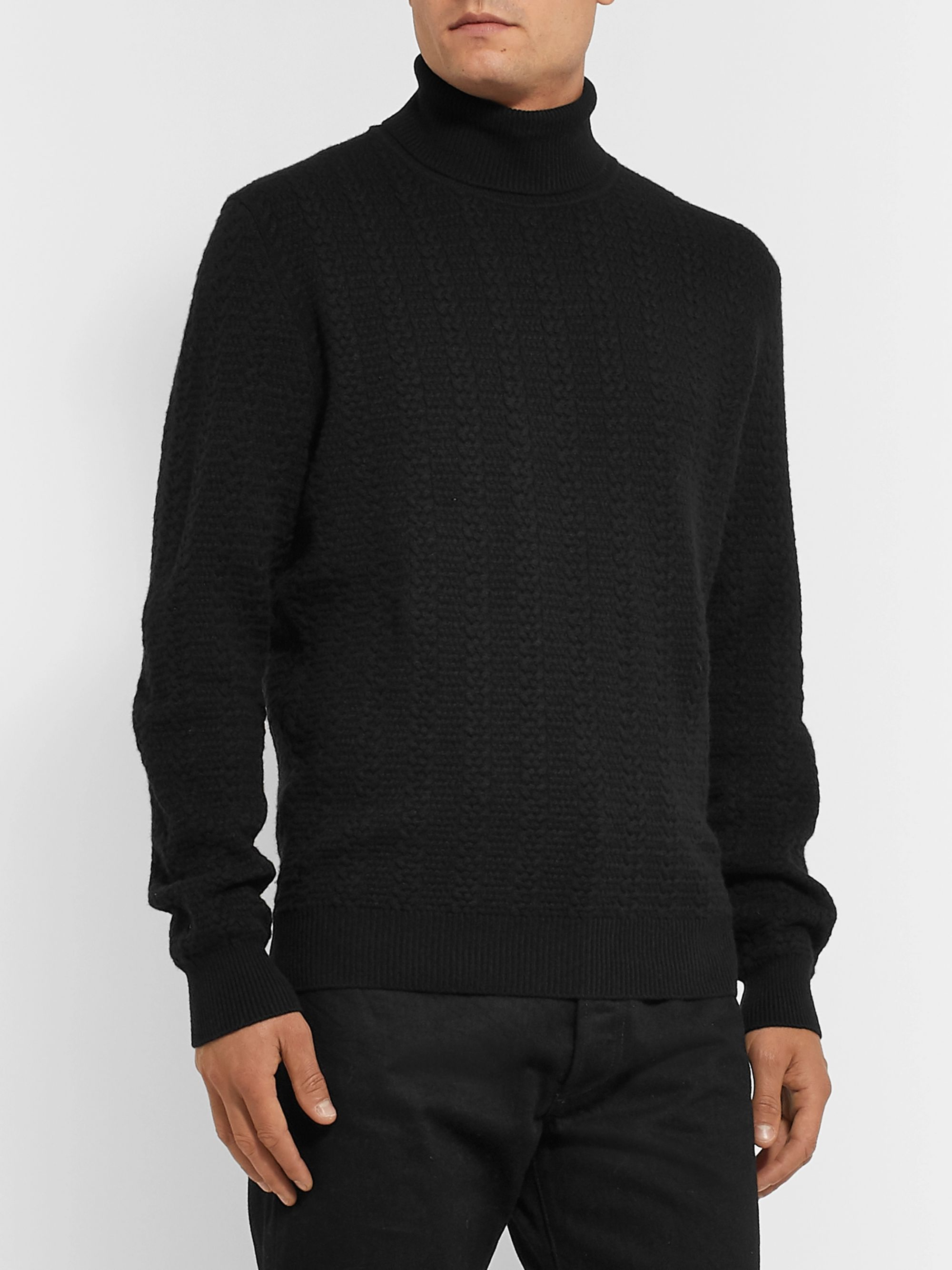 Ermenegildo Zegna Slim-Fit Cable-Knit Cashmere Rollneck Sweater