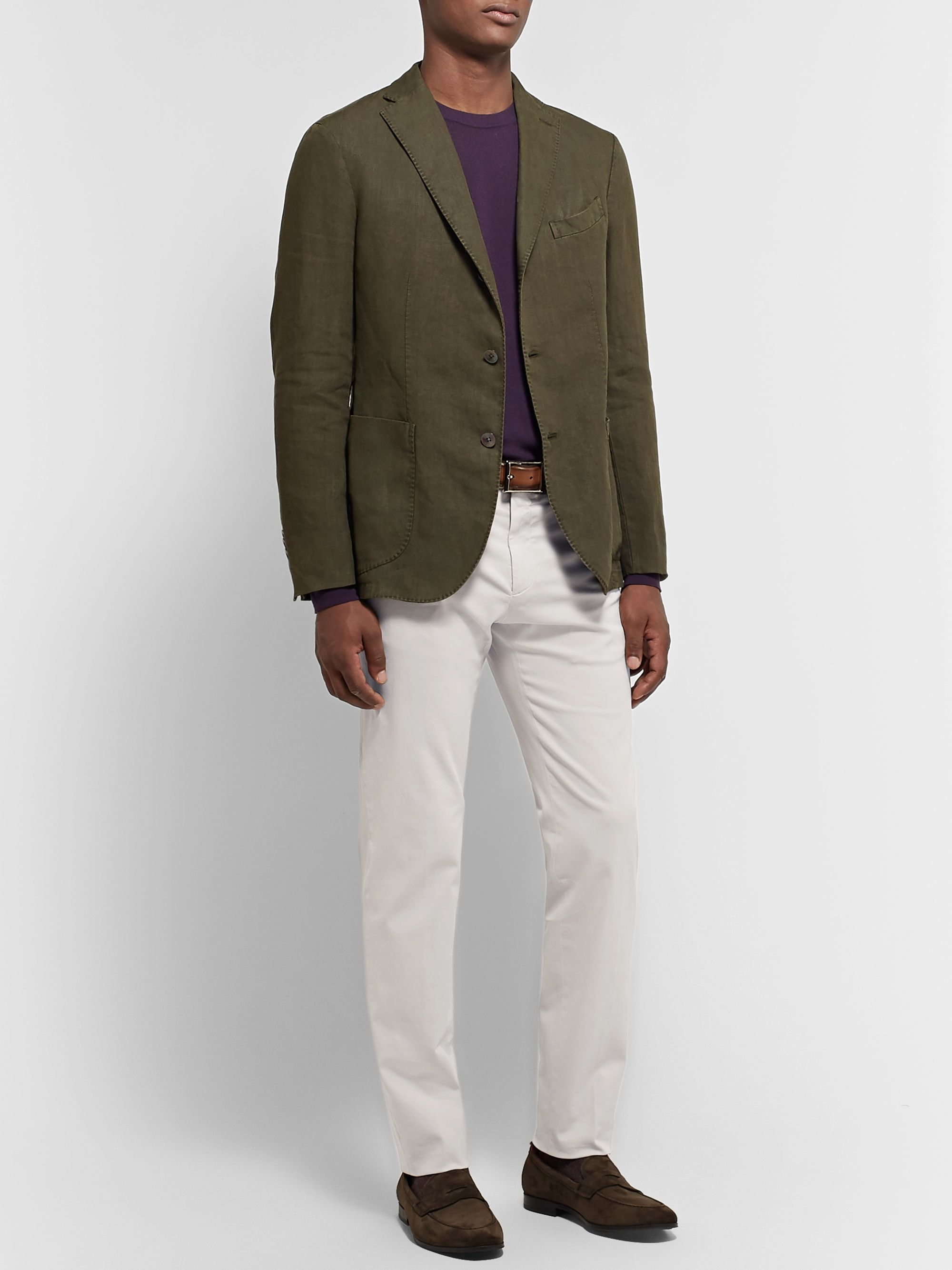 Ermenegildo Zegna Slim-Fit Garment-Dyed Stretch-Cotton Twill Chinos