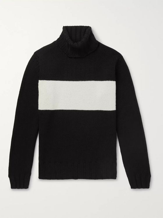 Lardini Striped Wool Rollneck Sweater