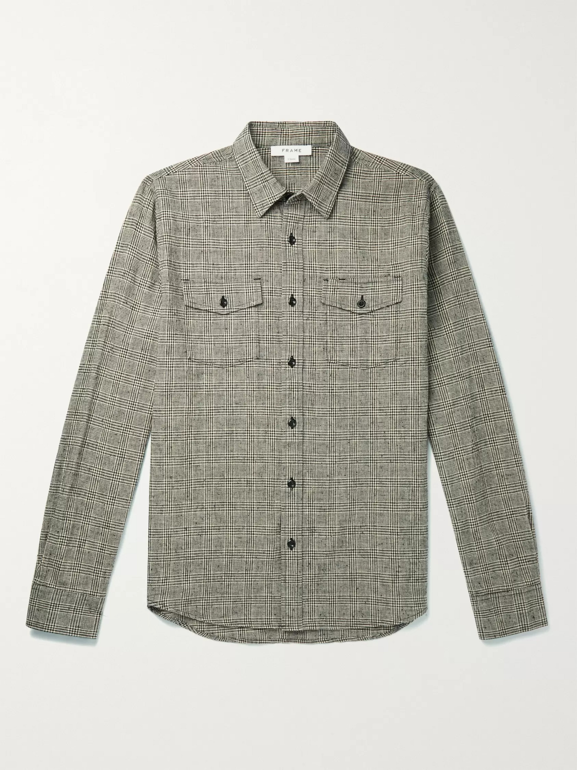 FRAME Checked Cotton and Linen-Blend Overshirt