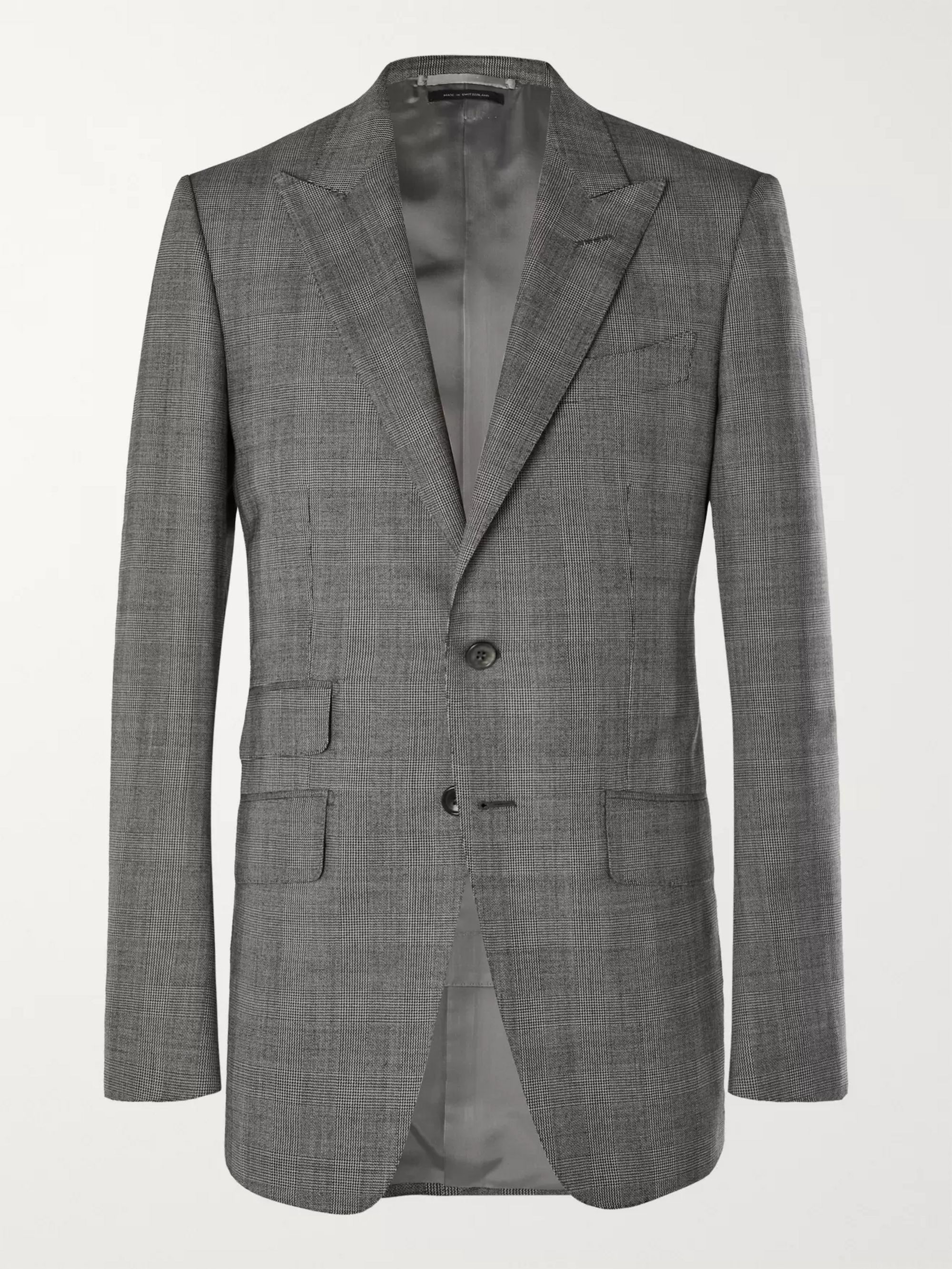 TOM FORD Grey O'Connor Slim-Fit Prince of Wales Checked Wool Suit Jacket